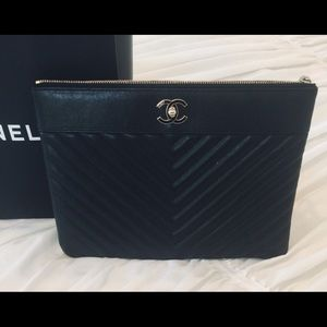 CHANEL BLACK Portfolio Bag with Gold Accent.
